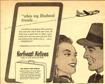 """Northeast Airlines – """"When my Husband travels..."""" (1953)"""