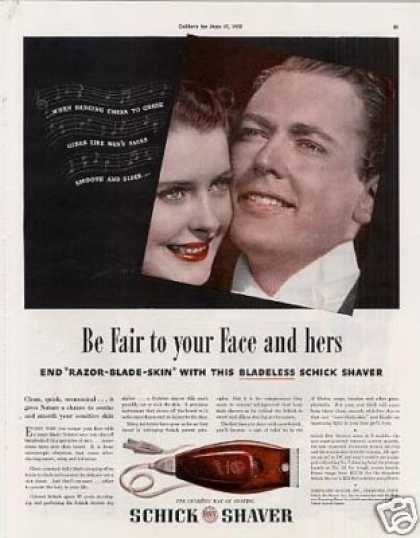 """Schick Shaver Ad """"Be Fair To Your Face... (1939)"""
