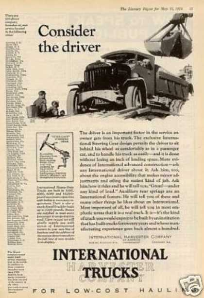"""International Truck Ad """"Consider the Driver... (1924)"""