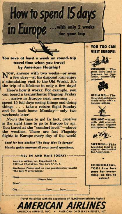 American Airline's Europe trip – How to spend 15 days in Europe... with only 2 weeks for your trip (1947)