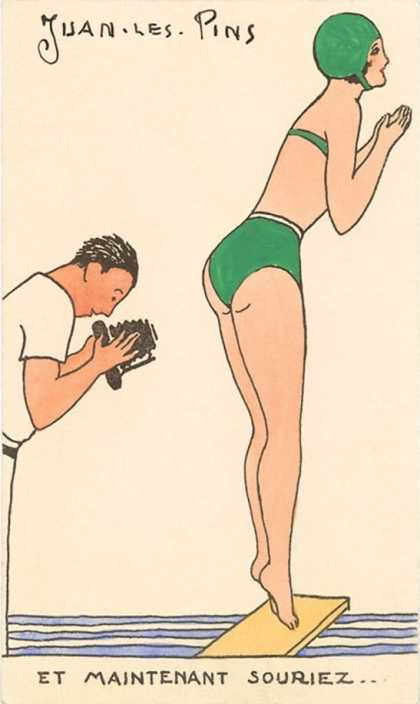 French Cartoon of Diving Lady, Now Smile