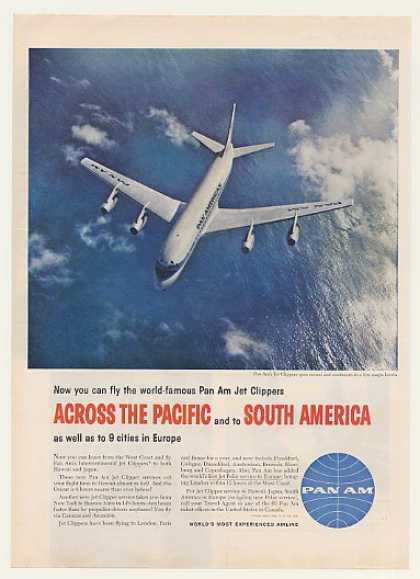 Pan Am Airlines Jet Clipper Fly Across Pacific (1959)