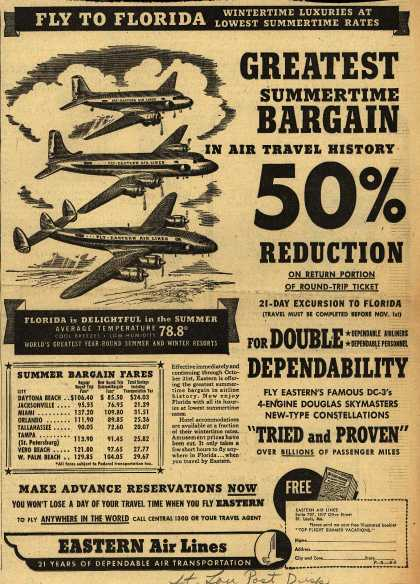 Eastern Air Line's Price Reduction – Greatest Summertime Bargain in Air Travel History 50% Reduction (1949)