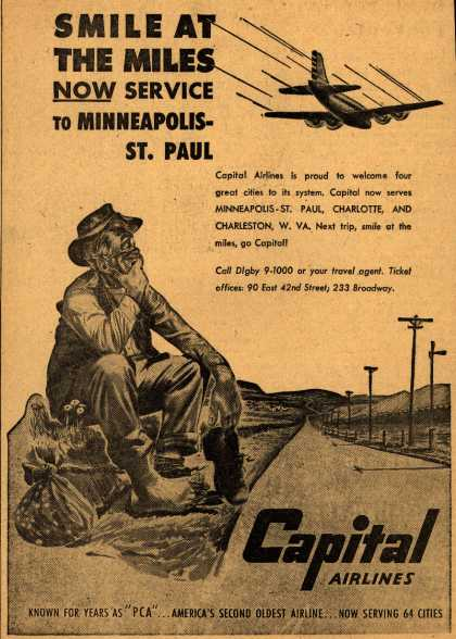 Capital Airline's Minneapolis-St.Paul – Smile At The Miles Now Service to Minneapolis-St. Paul (1947)