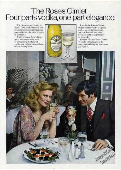 The Rose's Gimlet One Part Elegance Lime Juice (1978)