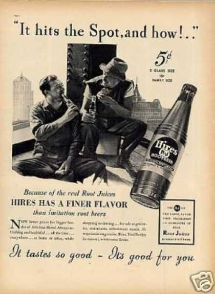 """Hires Root Beer Ad """"It Hits the Spot... (1937)"""
