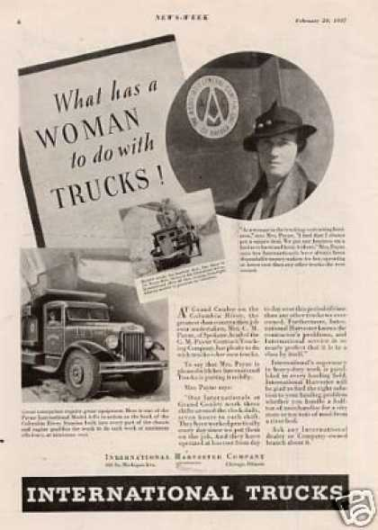 """International Truck Ad """"What a Woman... (1937)"""