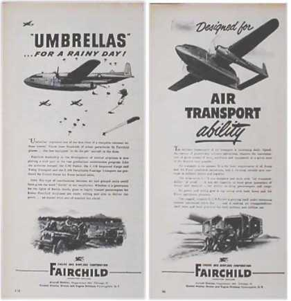 Fairchild Engine and Airplane Ads – Set of Two (1951)