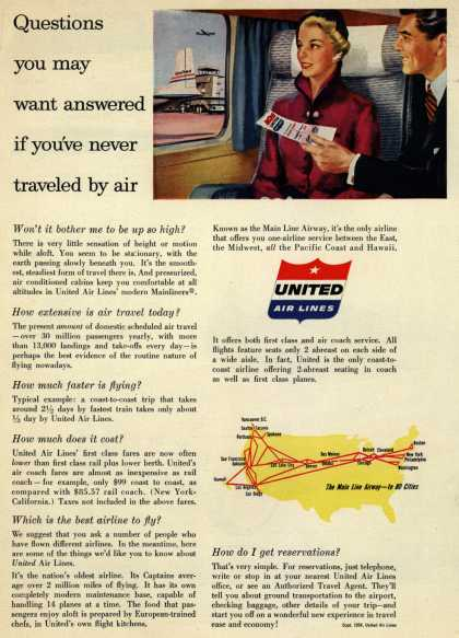 United Air Lines – Questions you may want answered if you've never traveled by air (1954)