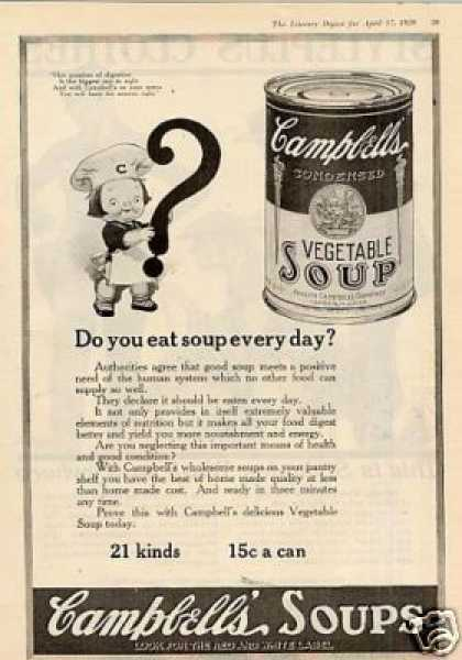 """Campbell's Soup Ad """"Do You Eat Soup... (1920)"""