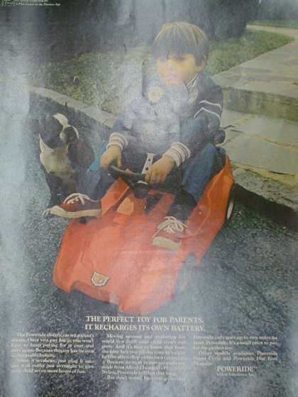 Power Ride. The perfect toy for all parents. It recharges its own battery (1970)