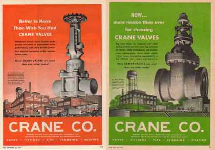 Crane Company Ads – Set of Two – Valves, Fittings, Pipes (1951)
