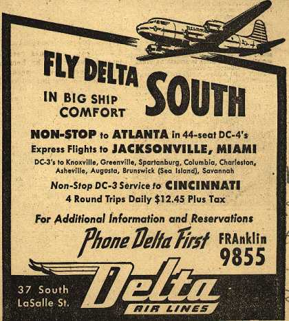 Delta Airline's Non-Stop Flights – Fly Delta South in Big Ship Comfort (1946)
