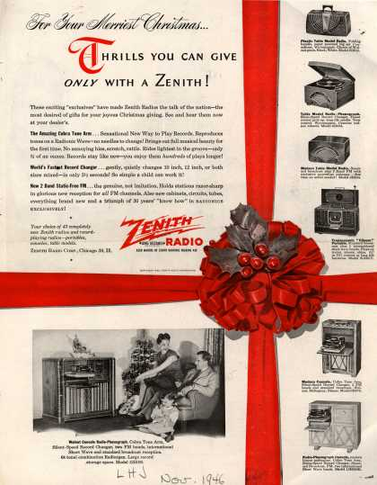 Zenith Radio Corporation's various – For Your Merriest Christmas...Thrills You Can Give Only With A Zenith (1946)