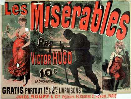 """Poster Advertising the Publication of """"Les Miserables"""" by Victor Hugo (1886)"""
