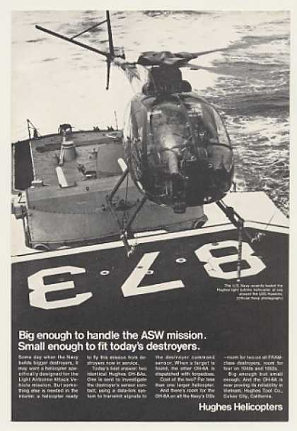 Hughes OH-6A Helicopter Aboard USS Hawkins (1968)