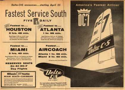 Delta Air Lines Incorporated's Delta-C&S Air Lines – Delta-C&S Announces... Starting April 25, Fastest Service South. Five DC-7's Daily. (1954)