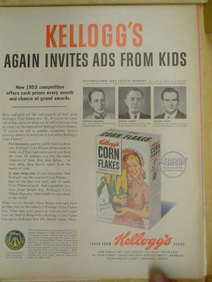 Kelloggs Corn Flakes. competition for ads from kids (1953)