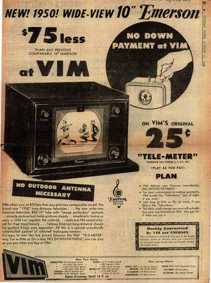 """Emerson Radio and Phonograph Corporation's Television – New! 1950! Wide-View 10"""" Emerson (1949)"""