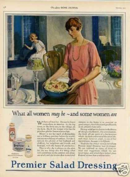 """Premier Salad Dressing Ad """"What All Women... (1923)"""