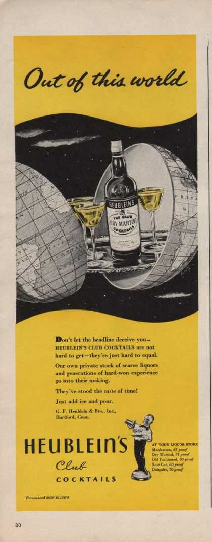 Heubleins Club Cocktail Out of This World (1942)