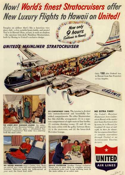 United Air Line's Hawaii – Now! World's finest Stratocruisers offer New Luxury Flights to Hawaii on United (1950)