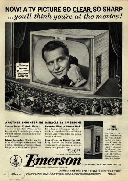 """Emerson Radio and Phonograph Corporation's """"Space Saver"""" Television – Now! A TV Picture So Clear, So Sharp... you'll think you're at the movies (1953)"""