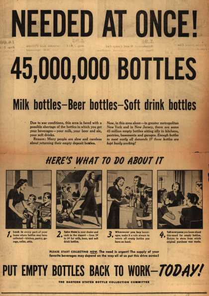 Eastern State Bottle Collection Committee's Bottles – Needed At Once! 45,000,000 Bottles (1943)