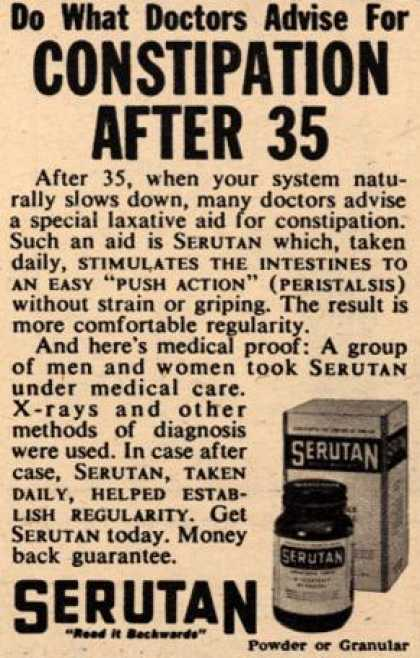 Unknown's Serutan – Do what doctors advise for constipation after 35 (1958)