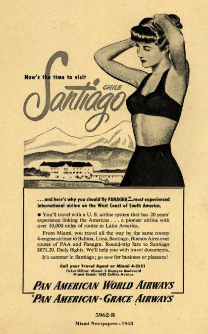 Pan American World Airways, Pan American-Grace Airway's Santiago, Chile – Now's the time to visit Santiago, Chile (1948)