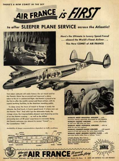 French National Airline's Sleeper Service – Air France is FIRST to offer SLEEPER PLANE SERVICE across the Atlantic (1947)