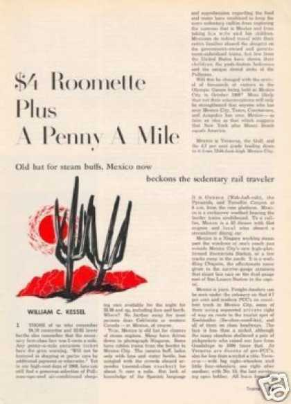 """""""$4 Roomette Plus a Penny a Mile"""" Article/mexico (1968)"""