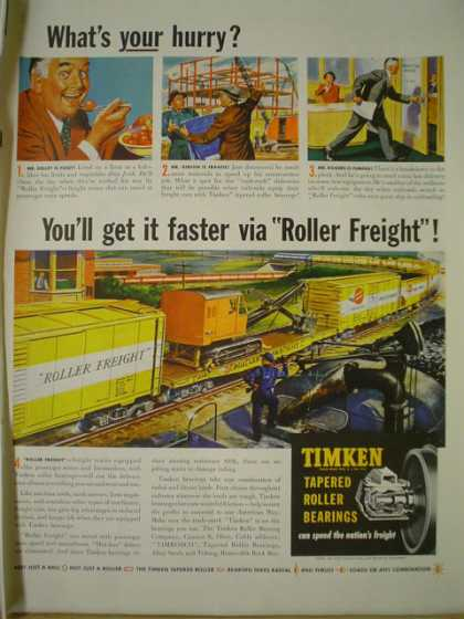 Timken tapered roller bearings Roller freight railroad theme (1950)