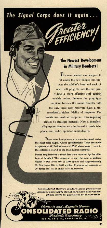 Consolidated Radio Products Company's Headphones – The Signal Corps Does it Again... Greater Efficiency (1943)