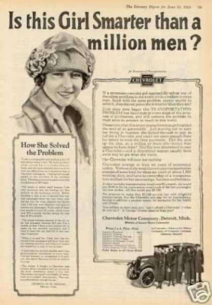 """Chevrolet Car Ad """"Is This Girl Smarter... (1924)"""