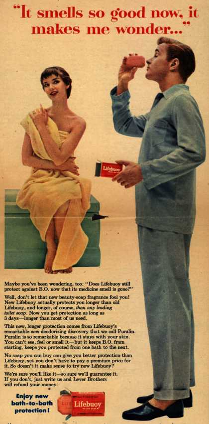 """Lever Brothers Company's Lifebuoy Health Soap – """"It smells so good now, it makes me wonder..."""" (1954)"""