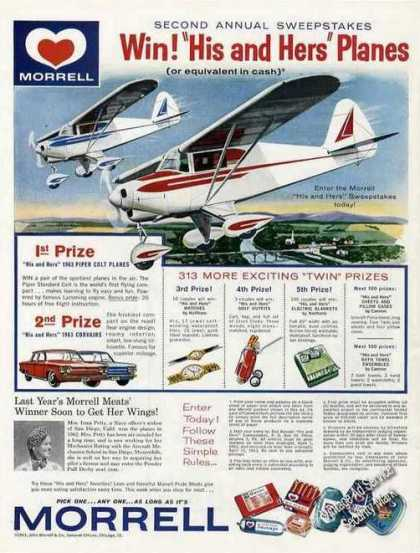 """""""His & Hers"""" Piper Colt Planes Morrell Contest (1963)"""