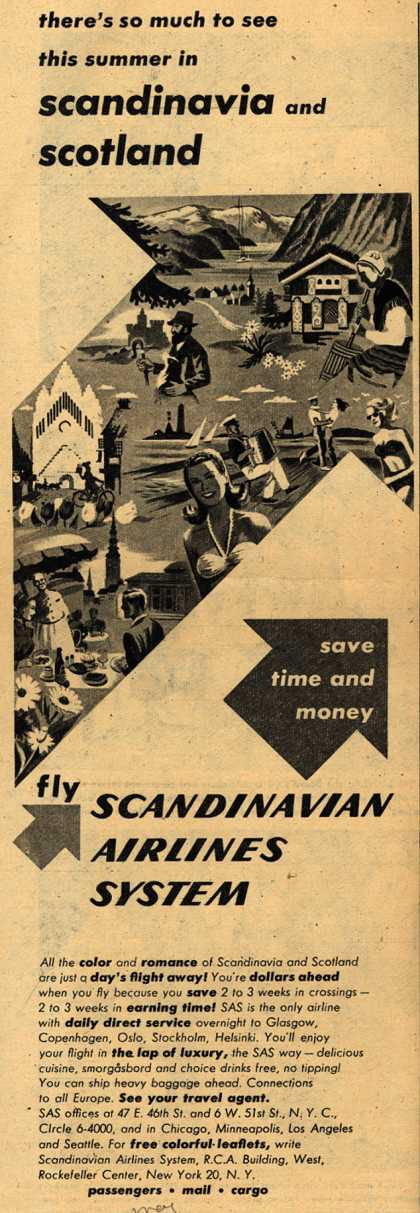 Scandinavian Airlines System's Scandinavia and Scotland – There's so much to see this summer in Scandinavia and Scotland (1948)