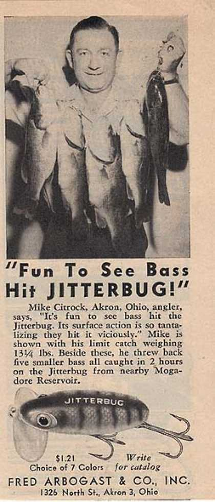 Arbogast's fishing lure. The ad has a photo of (1948)