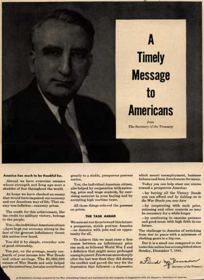 War Advertising Council's Post-War – A Timely Message to Americans (1945)