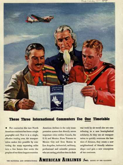 American Airline's Western Hemisphere Transportation – These Three International Commuters Use One Timetable (1944)