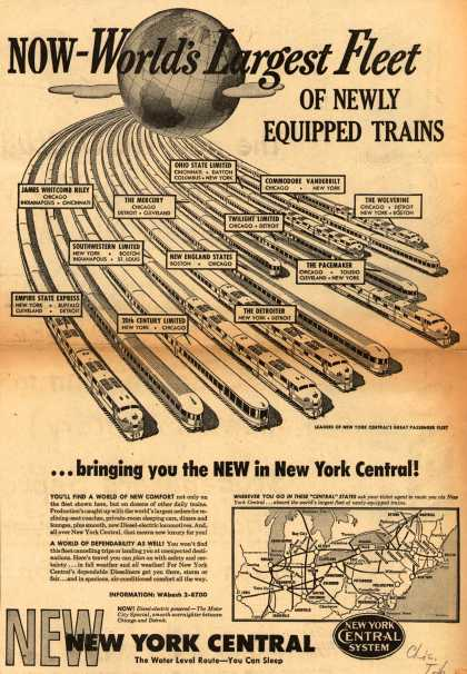 New York Central System – Now-World's Largest Fleet Of Newly Equipped Trains (1949)