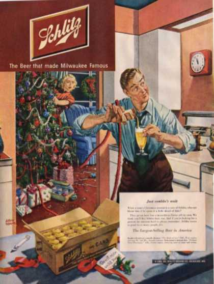 Schlitz Beer Christmas Tree Can Home (1950)