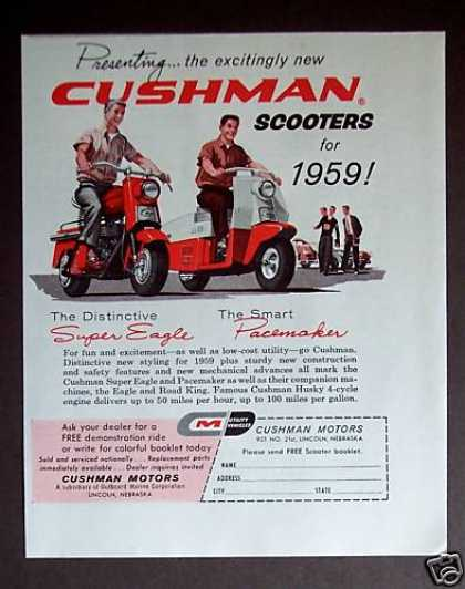Cushman Scooters for '59 (1958)