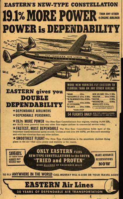 Eastern Air Line's Constellation – Eastern's New-Type Constellation 19.1% More Power... Power is Dependability (1949)