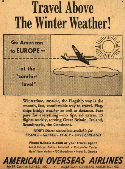 American Overseas Airline's Europe trips – Travel Above the Winter Weather (1947)