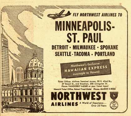 Northwest Airline's various destinations – Fly Northwest Airlines to Minneapolis-St. Paul (1951)