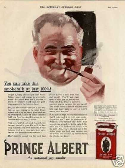 """Prince Albert Tobacco Color Ad """"You Can Take This (1920)"""