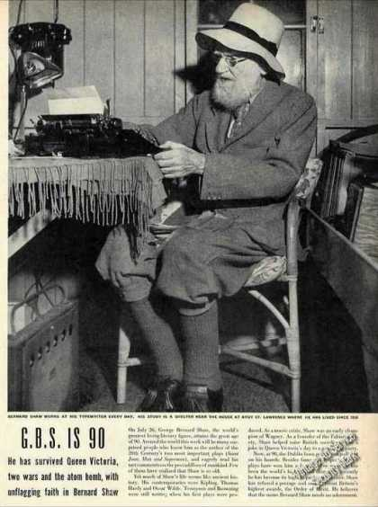 George Bernard Shaw In His Study Photo Article (1946)