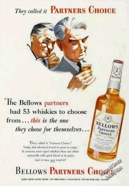 Bellows Partners Choice Whiskey (1954)